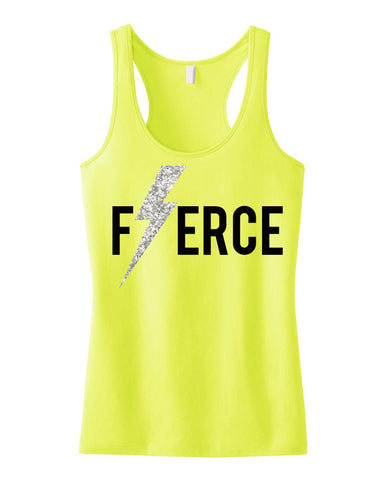 FIERCE Glitter Lightning Workout Tank Top Yellow