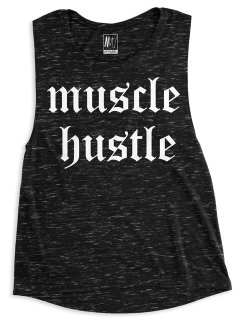 Muscle Hustle Black Marble Muscle Tank Top