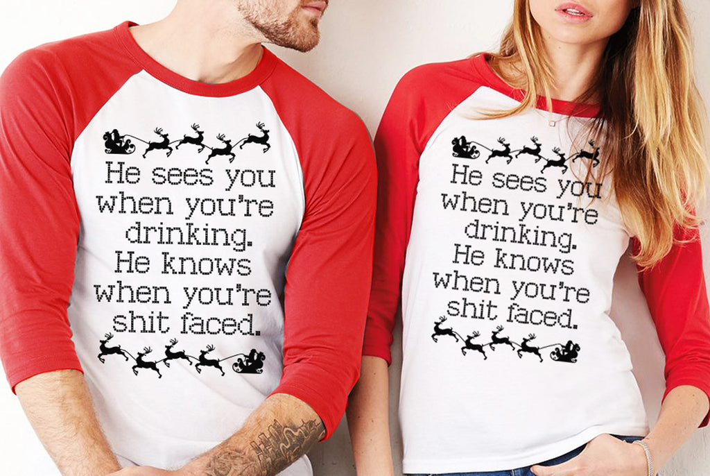 He Sees You When You're Drinking Explicit Christmas Baseball Tee Red - Unisex