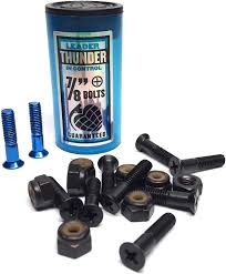 "Thunder 7/8"" Hardware  Phillips Bolts (8) Black with (2) Blue Tip bolts (8) Black Locknuts"