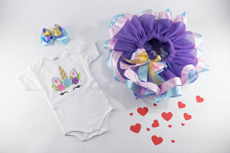 Unicorn Tutu Purple Birthday Outfit For Baby Girls