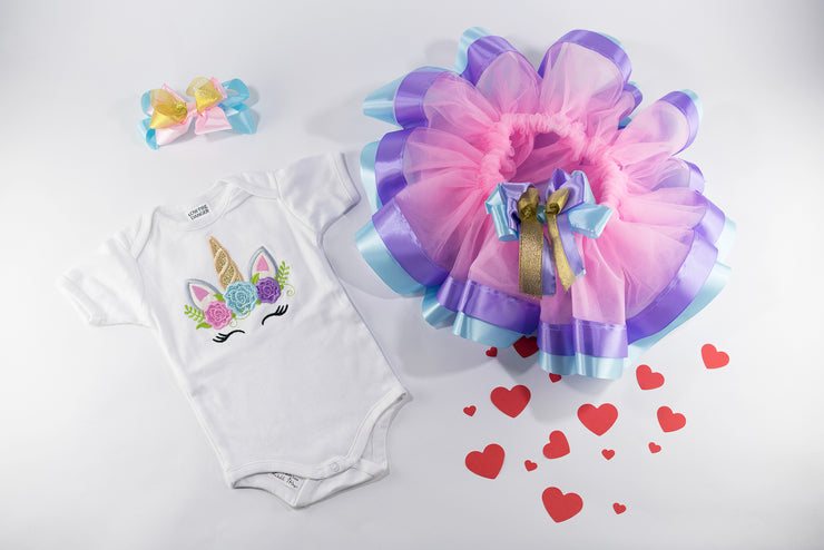 Unicorn Tutu Pink Birthday Outfit For Baby Girls