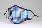 Adult Face Mask Blue Plaid Valve Mask