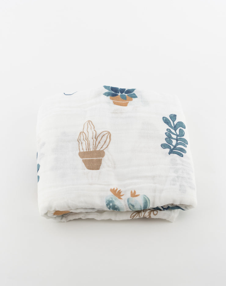 Newborn Baby Muslin / Swaddle / Blanket (Potted Succulents Print)