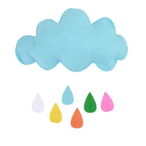 Sky blue raining cloud with colored water droplets