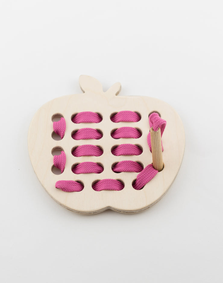 Wooden Apple Lacing Toy With Pink Lace