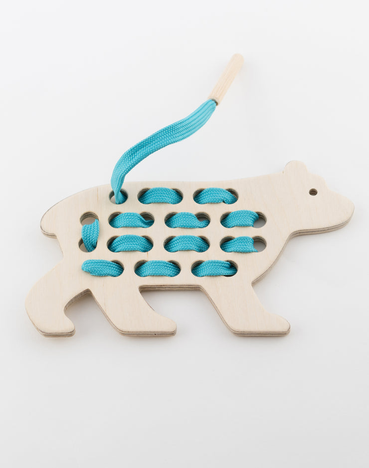 Wooden Bear Lacing Toy With Blue Lace