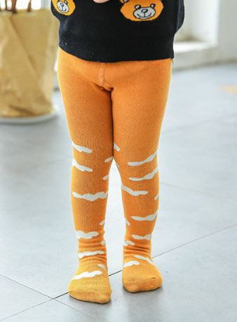 Baby / Toddler Cotton Tights for Autumn / Winter (Clouds on mustard print)