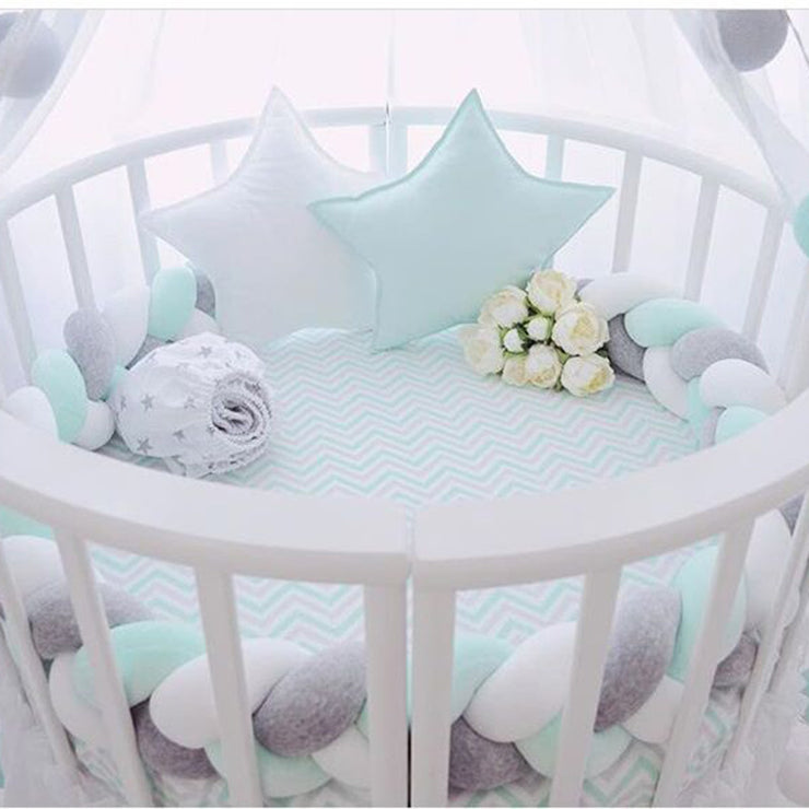 Braided Crib Bumper Tri-Color (White/Grey/Teal) 200cm