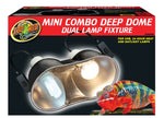 Zoo Med Mini Combo Deep Dome Lamp Fixture - Black - Up to 100 Watts - Each Socket