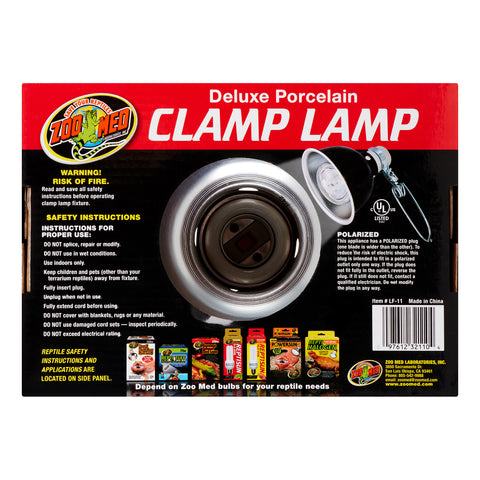 "Zoo Med Deluxe Porcelain Clamp Lamp - Black - 150 Watts (8.5"" Diameter)"