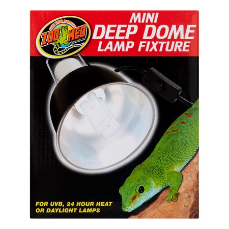 Zoo Med Mini Deep Dome Lamp Fixture - Black - Up to 100 Watts