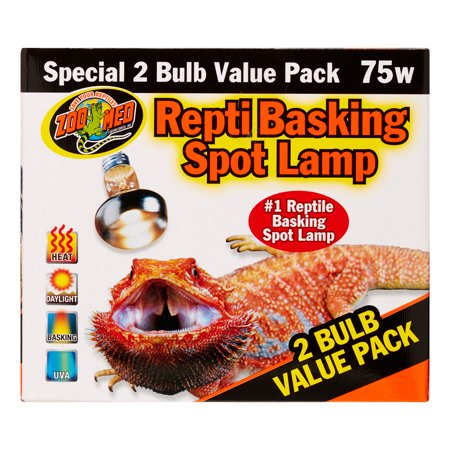 Zoo Med Repti Basking Spot Lamp Replacement Bulb - 75 Watts (2 Pack)