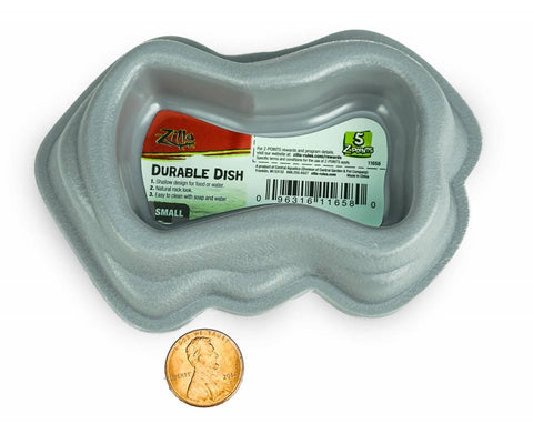 "Zilla Decor Durable Dish for Reptiles - Grey - Small (6""L x 5""W x 2.5""H)"