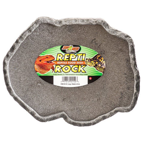 "Zoo Med Repti Rock - Reptile Food Dish - Large (9.75"" Long x 8.5"" Wide)"