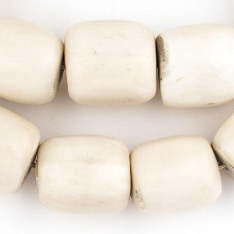 Polished White Bone Beads, Barrel