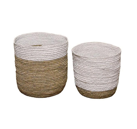 White and natural baskets, 2 sizes