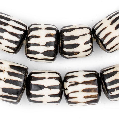 Chevron Design Batik Bone Beads, Barrel