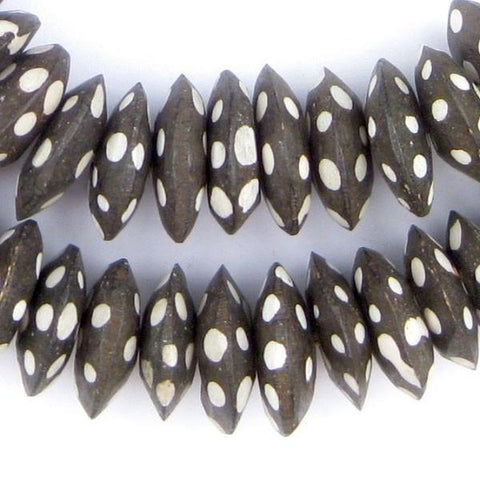Polka Dot Batik Bone Beads, Saucer