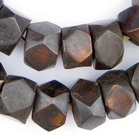 Dark Brown Kenya Bone Beads, Faceted