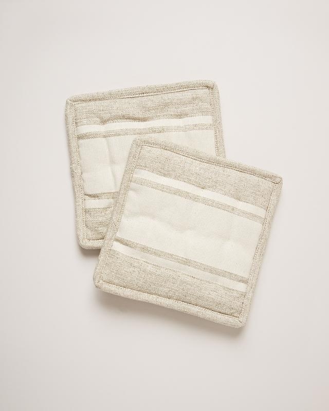 Handloom Stripe Potholders, Cream
