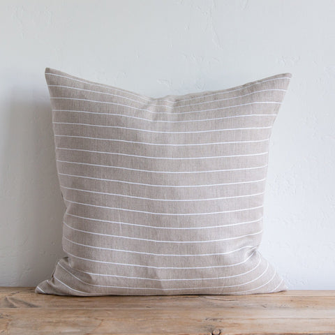 Mini Stripe Light on Natural/White Pillow