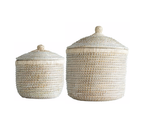 Natural Seagrass Baskets with Lid, 2 Sizes