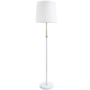 Greenwich Adjustable Floor Lamp, White with Brass