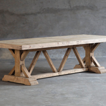 "Salvaged Wood Trestle Table, 120""L x 43""W"
