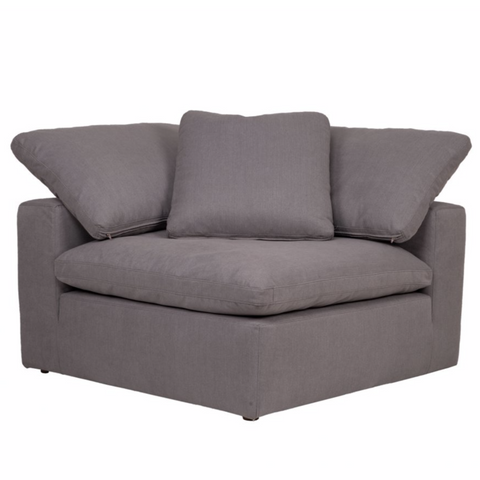 Clay Sectional Corner Chair Livesmart Fabric Light Grey
