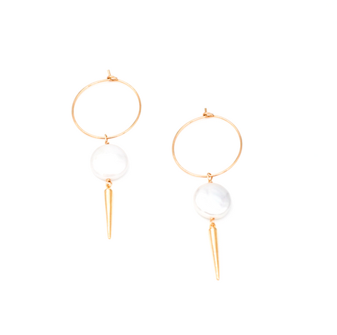 Thin Pearl With Spike Hoops