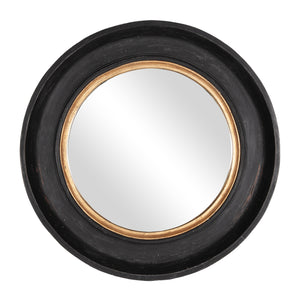 Winchester Round Wooden Mirror, Aged Black and Gold