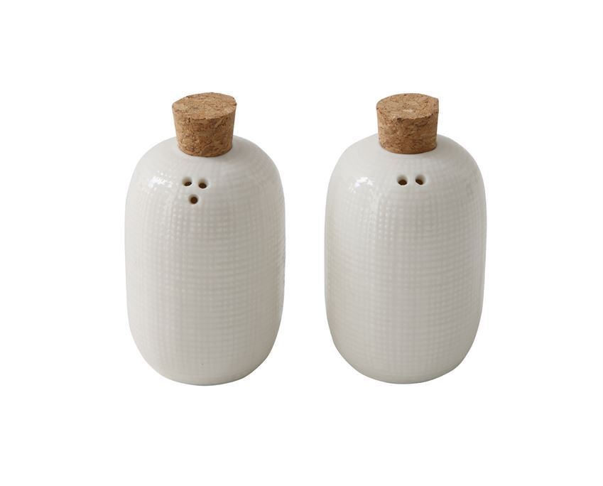 Embossed Ceramic Salt & Pepper Shakers With Cork Stoppers, Set Of 2