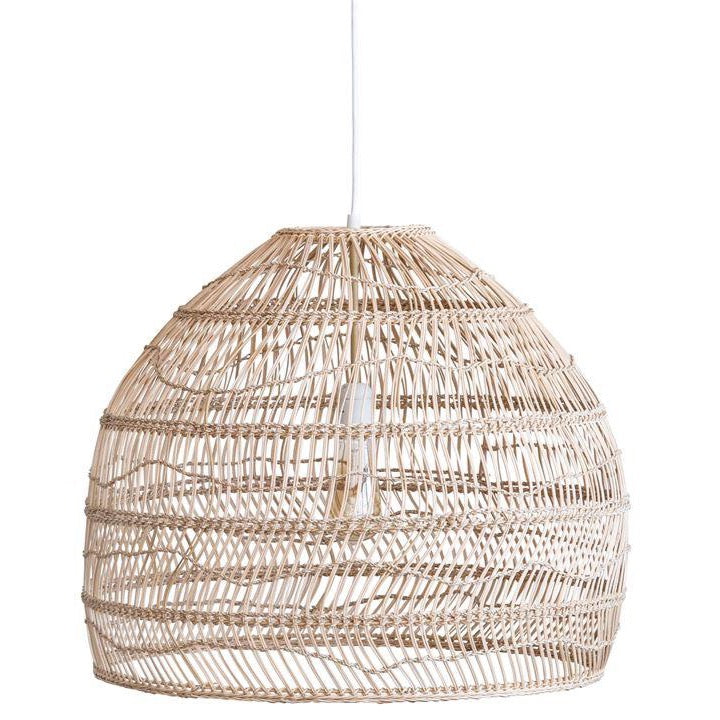 Beige Wicker & Metal Pendant Light