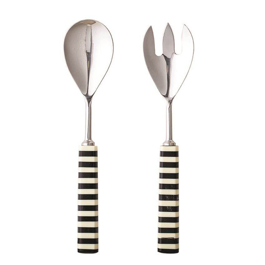 Stainless Steel & Resin Salad Servers, Black & White, Set Of 2