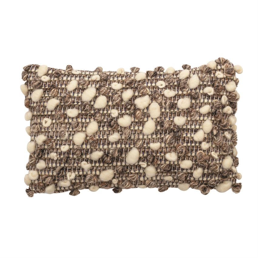 Hand-Woven Boucle Lumbar Pillow, Brown & Natural