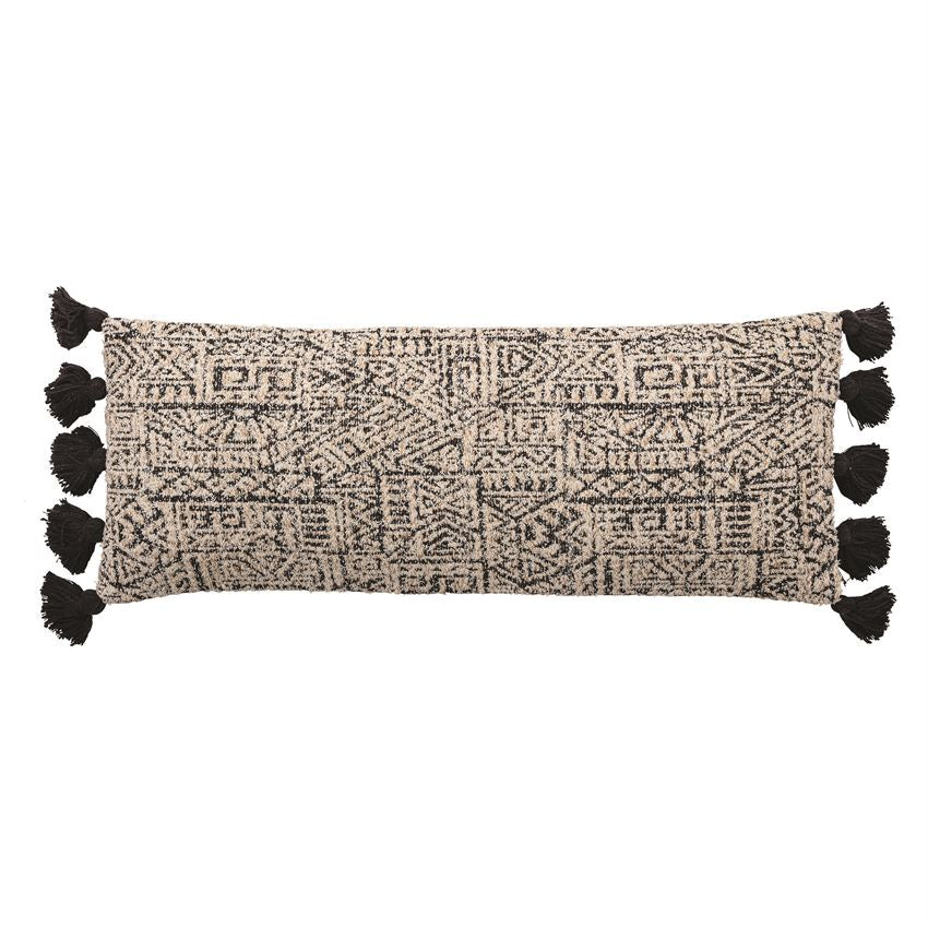 Woven Cotton Patterned Lumbar Pillow With Tassels, Black & Natural