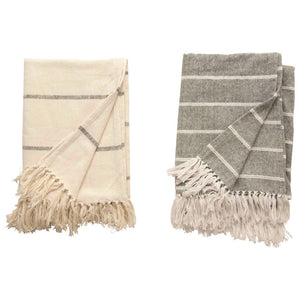 Brushed Cotton Striped Throw With Fringe, 2 Styles