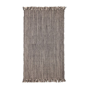 Woven Cotton Blend Rug with Fringe, Black & Cream Color