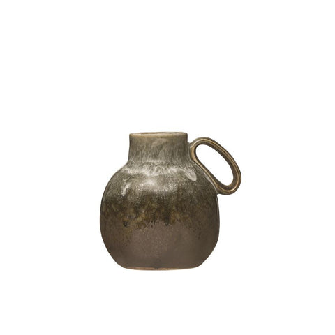 Stoneware Vase with Handle, Reactive Glaze, Green