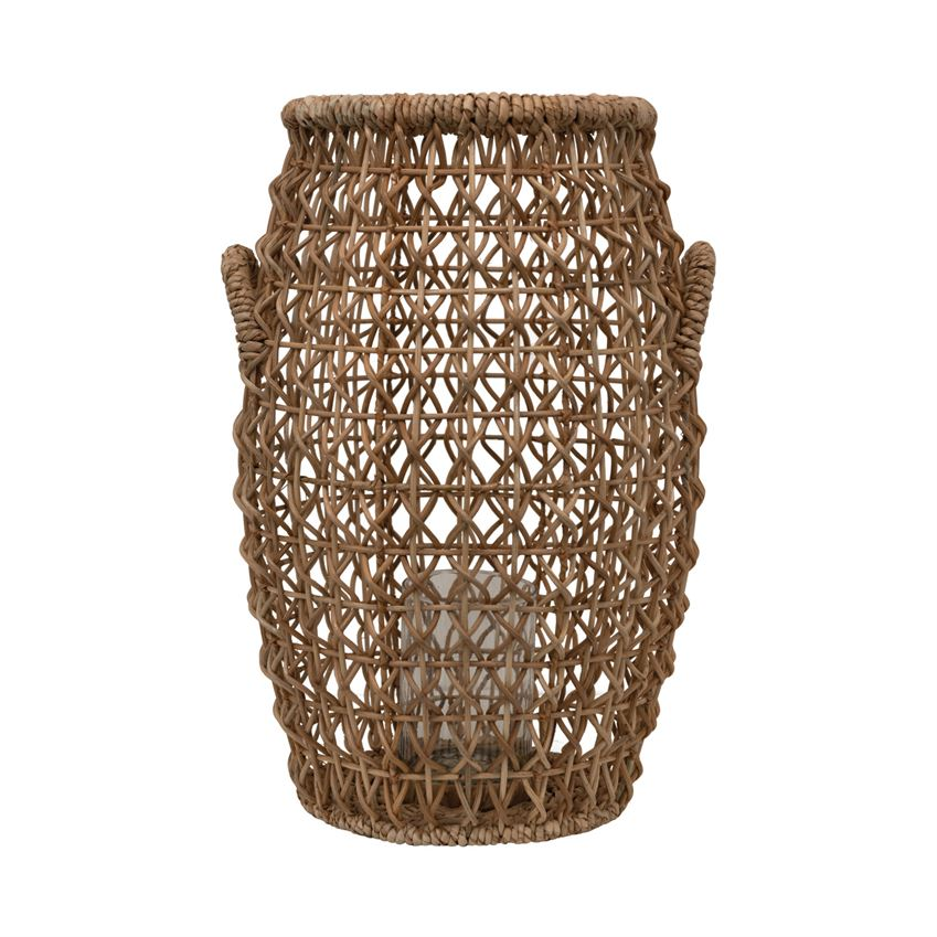 Hand-Woven Water Hyacinth & Rattan Lantern with Glass Insert