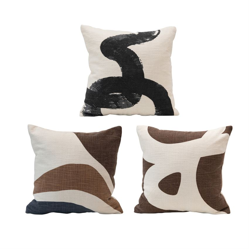 Cotton Pillow With Abstract Design, Multi Color, 3 Styles