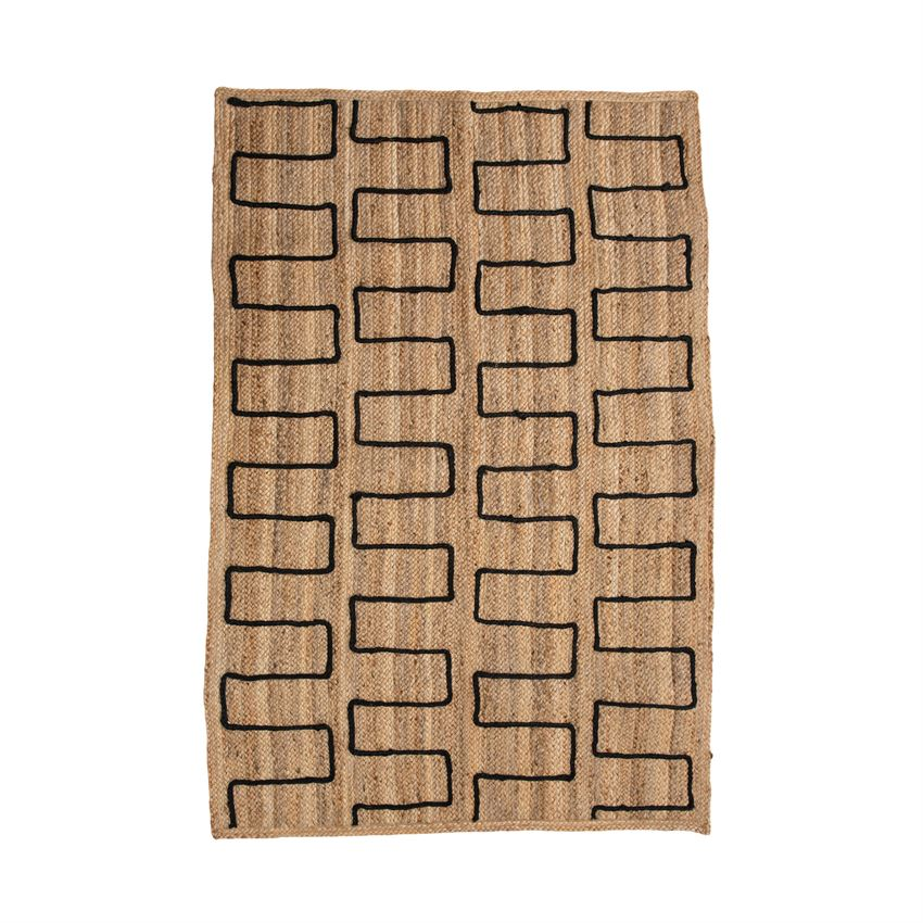 Braided Jute Rug With Stitched Design, Natural & Black
