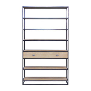 Carter Iron Bookshelf with Wooden Drawer, Brown
