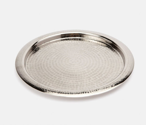 Winsford Shiny Nickel Tray, Round, Etched Metal