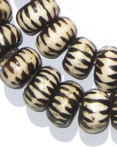 Chevron Design Batik Bone Beads, Large