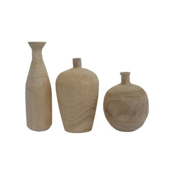 Paulownia Wood Vases, Set of 3