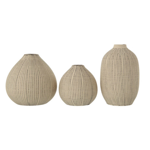 Stoneware Textured Vases, White & Black, Set of 3