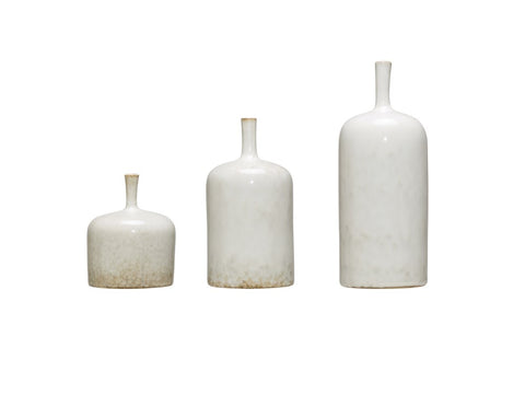 White Stoneware Vase with Reactive Glaze, 3 Sizes