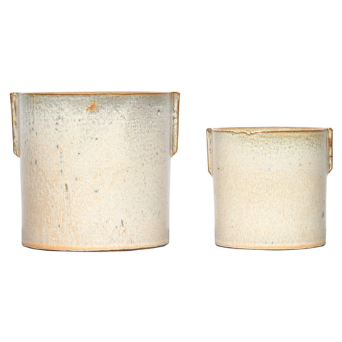 Stoneware Flower Pot with Reactive Glaze, Set of 2